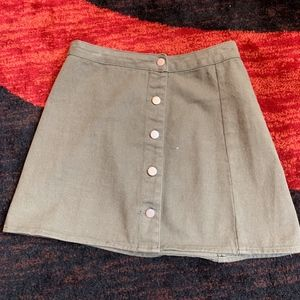 Honey Punch EUC Button Olive Skirt